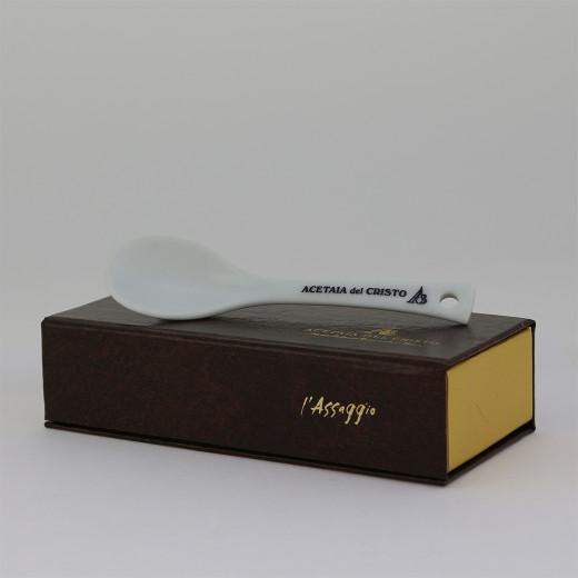 Confezione a Libro L'ASSAGGIO! CUCCHIAINO da DEGUSTAZIONE in Porcellana Accessorio a Corredo dell'Aceto Balsamico Tradizionale di Modena DOP