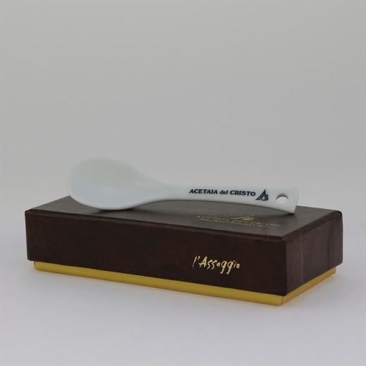 Confezione Cofanetto L'ASSAGGIO! CUCCHIAINO da DEGUSTAZIONE in Porcellana Accessorio a Corredo dell'Aceto Balsamico Tradizionale di Modena DOP