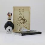Confezione in LEGNO PIROGRAFATA a mano Aceto Balsamico Tradizionale di Modena DOP Tradizionale CLASSICO