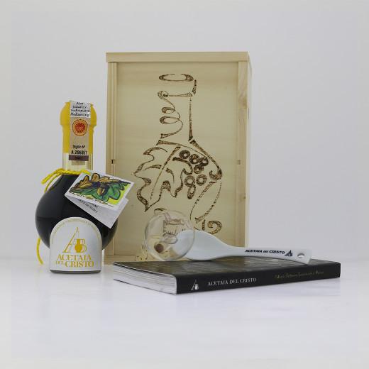 Confezione in LEGNO PIROGRAFATA a mano Aceto Balsamico Tradizionale di Modena DOP Tradizionale ROVERE