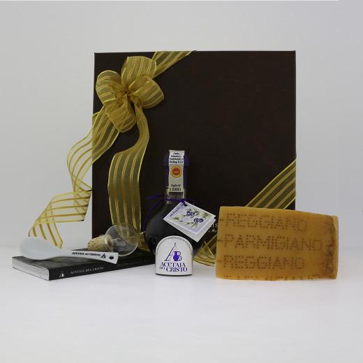 Confezione REGALO con Parmigiano Reggiano Aceto Balsamico Tradizionale di Modena DOP Tradizionale GINEPRO