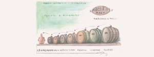 riproduzione ad acquerello di tipica batteria per l'invecchiamento del balsamico all'ACETAIA DEL CRISTO