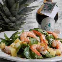 insalatina tropicale gamberi e aceto balsamico tradizionale gelso