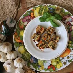 Cubetti di frittata, verdure grigliate e Aceto Balsamico