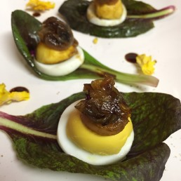 radicchi,uova sode e cipolla caramellata con aceto balsamico
